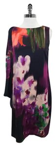 Elie Tahari short dress Black Purple Watercolor Print on Tradesy