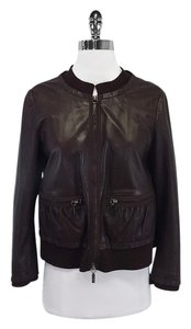 Brown Soft Leather Wool Jacket