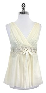 Robert Rodriguez Cream Crochet Silk Cotton Top