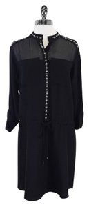 Rebecca Taylor short dress Black Silk Stud Shift Long Sleeve on Tradesy