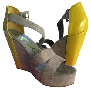 Kensie Wedge Heel grey and yellow green Platforms