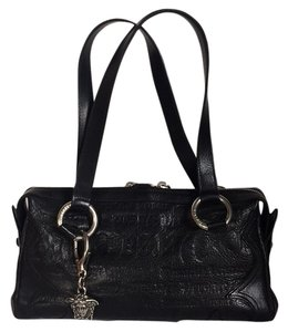 Versace Rocker Leather Embossed Satchel in Black