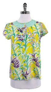 Kate Spade Mint Yellow Floral Lace Silk T Shirt