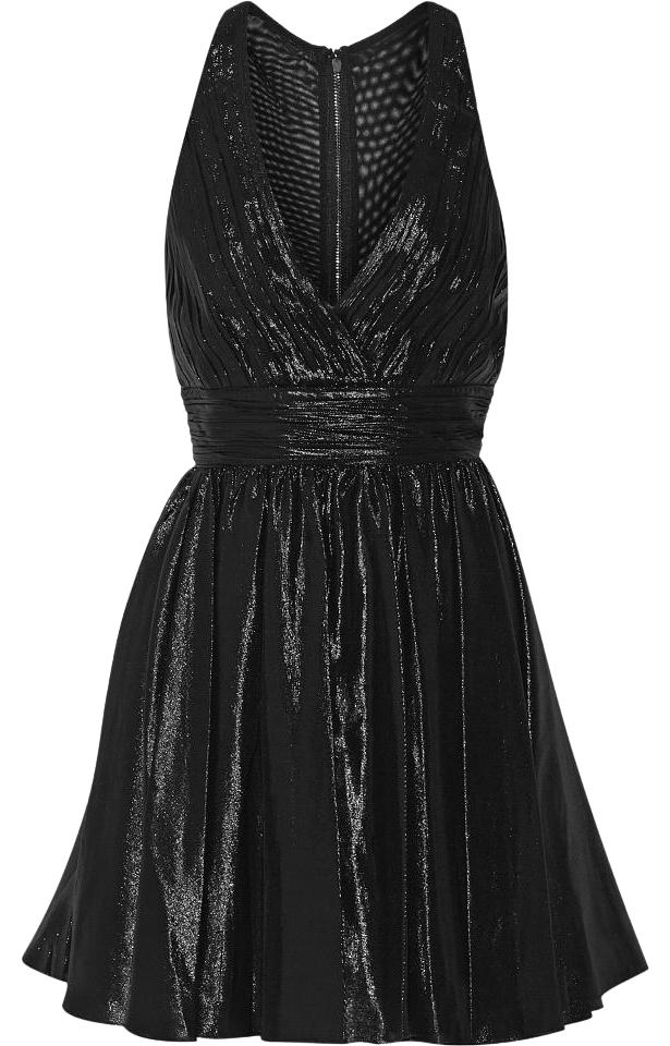 Olivia Metallic Out Black Pleated Alice Night Dress blend Silk PqdxFPOCw
