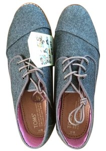 TOMS Lace Up Gray Flats