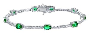 Other Emerald Green Oval Solitaire Link Bracelet White Gold Finish Sterling Silver 2ct