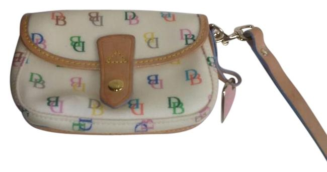 Item - Low Price Cream/Multicolor Canvas and Leather Wristlet