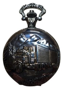 Details Stainless Steel Silver Details Quartz Pocket Watch with Transfer Truck Detail