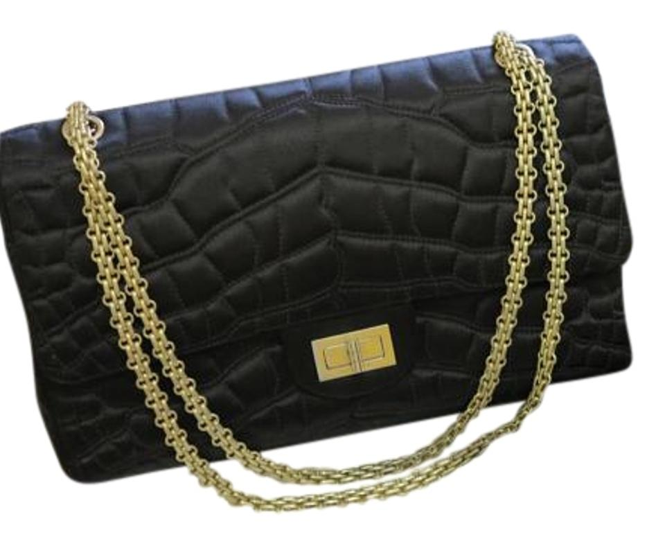 54f8e9df8355 Chanel Sac Class Rabat Black Quilted Satin Caviar Leather Shoulder ...
