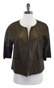 Lafayette 148 New York Olive Distressed Leather Open Leather Jacket