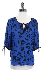 Yumi Kim Blue Black 3/4 Sleeve Silk Top