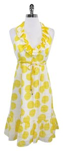 Lilly Pulitzer short dress Yellow White Spotted Silk Halter on Tradesy