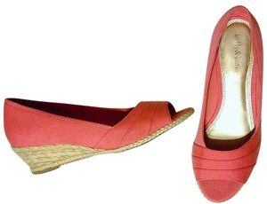 Kelly & Katie Rope Open Toe Coral Wedges