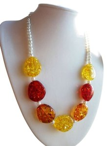 Yellow red White orange glass beads fashion handmade women,necklace