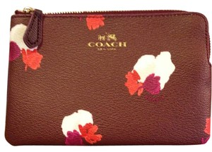 Coach Leather Wristlet in eggplant
