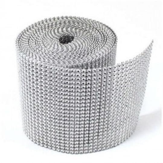 Silver Bling Rhinestone Mesh Roll 30 Ft Reception Decoration