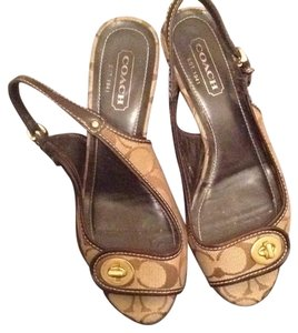 Coach Beige and brown Sandals