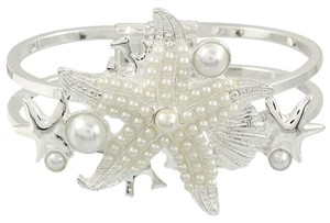 Pearl Accent Silver Starfish Cuff Bracelet Bangle