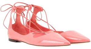 Jimmy Choo Patent Leather Pointy Toe Coral Flats