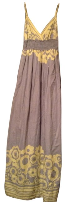 Item - Grey with Yellow Detail Long Casual Maxi Dress Size 8 (M)
