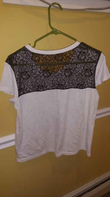 Express Casual Cotton Comfortable Floral Lace Chic T Shirt White & Multi