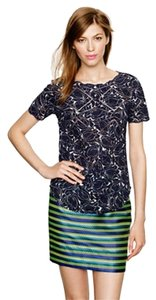 J.Crew Floral Scalloped Eyelet Top Navy