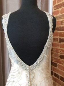 Maggie Sottero Light Gold/Pewter Beaded Organza 5mt652 Formal Wedding Dress Size 10 (M)