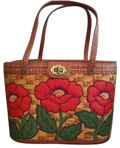 Isabella Fiore Woven Basket Floral Satchel in Brown Red