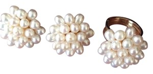 custom Genuine Cultured Cluster Pearl Earrings And Ring Set