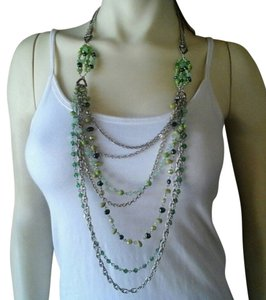 Citrine by the Stones Green Gemstone Shell Necklace Set