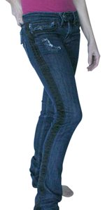Taverniti So Jeans Denim Dark Wash Distressed Tuxedo Stripe Small Skinny Jeans-Dark Rinse