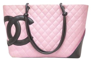 Chanel Lamb Skin Cc Logo Cambon Tote Shoulder Bag