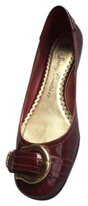 Juicy Couture Patent Leather Buckle Gold Wine Flats