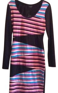Nicole Miller short dress Black, with strips on Tradesy