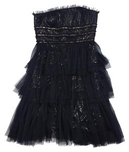 Monique Lhuillier short dress Black Gold Strapless on Tradesy