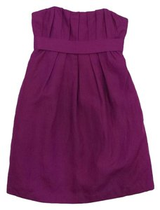Ali Ro short dress Magenta Pleated Silk Linen Strapless on Tradesy