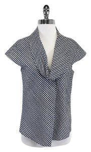 Hugo Boss Navy & White Polka Dot Cowl Top