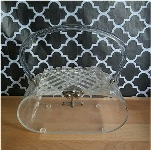 Vintage 50s Carved Lucite Clear Handbag