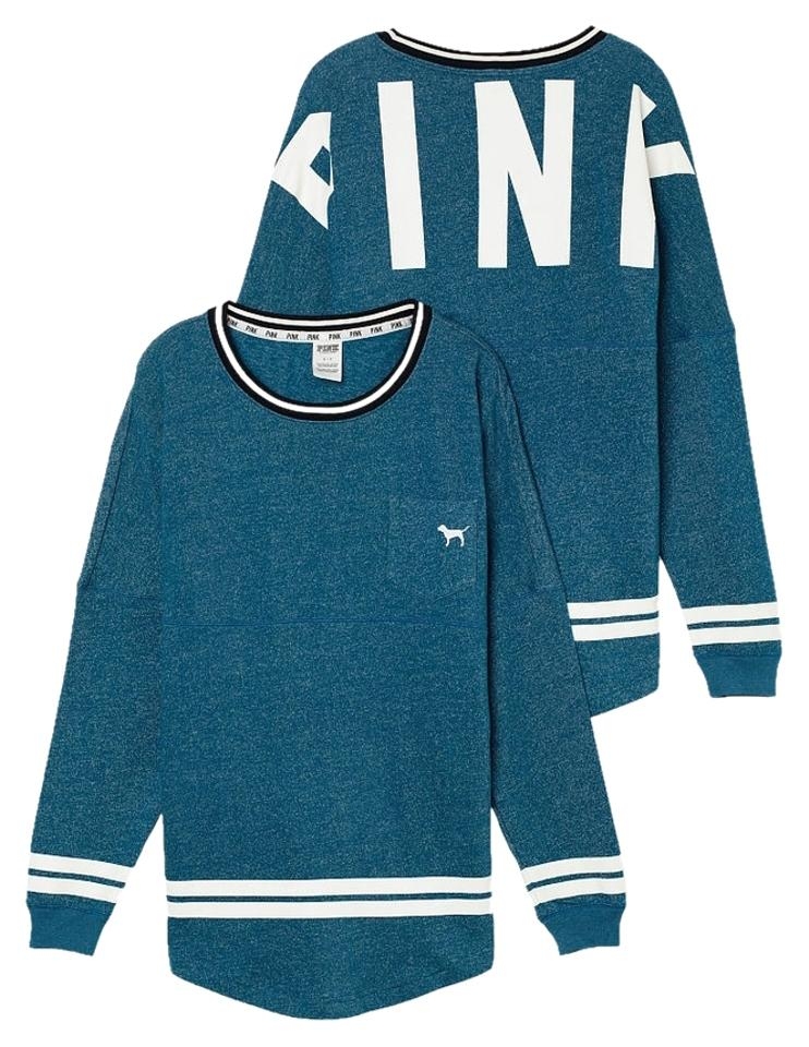 00aed3890847c PINK By Victoria's Secret Varsity Crew Teal Dark Blue Marl Medium M Sweater