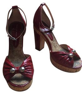 Marc by Marc Jacobs Heels Patent Leather Peep Toe Red Sandals