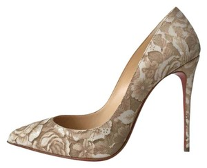 Christian Louboutin Pigalle Follies Porcelain Floral White So Kate Nude Pumps
