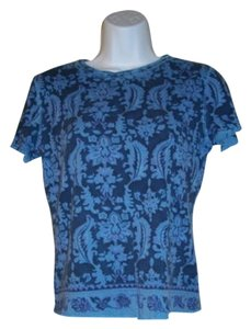 Gloria Vanderbilt Sparkles Sleeve Casual T Shirt Blue