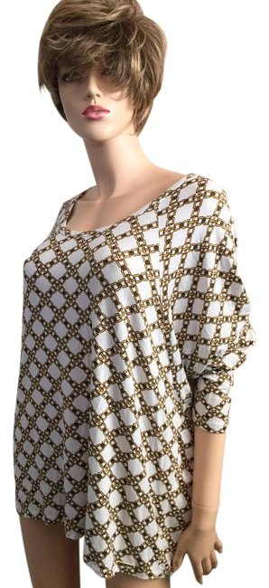 Item - Mk Loose Fit White Gold Black Chain Link Print Top