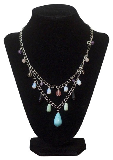 Preload https://img-static.tradesy.com/item/1743918/multicolored-blue-turquoise-colored-howlite-mixed-quartz-statement-necklace-0-1-540-540.jpg