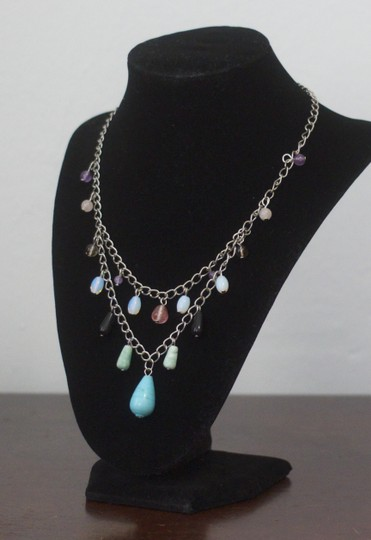 Other Blue Turquoise Colored Howlite, Mixed Quartz Statement Necklace