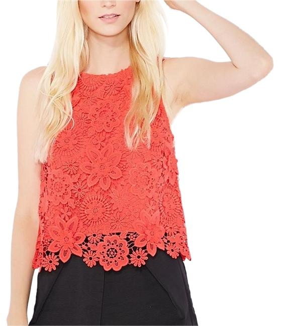 Item - Red Orange Floral Lace Crochet Shell Tank Top/Cami Size 2 (XS)