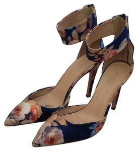 J.Crew Navy / Floral Pumps