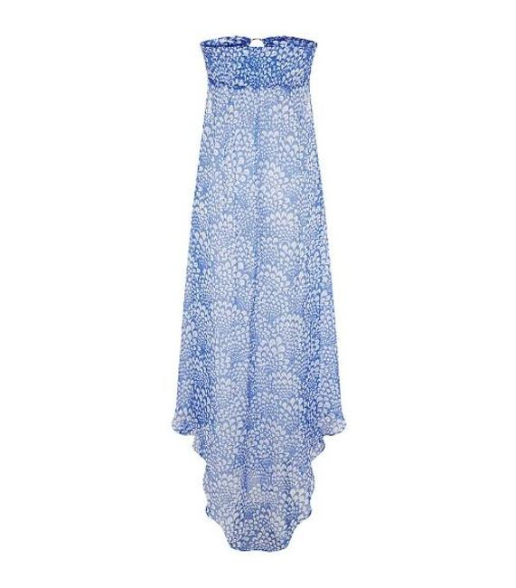 Item - Fan Blue Long Strapless Kaftan Cover-up/Sarong Size 4 (S)