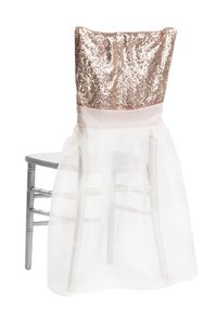 Blush White 100 Sequin Chiavari Full Chair Back Covers and Event Party Anniversary Banquet Bling Glam Reception Decoration