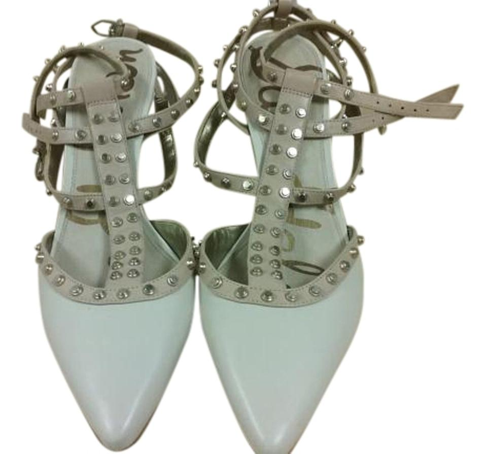 5744911759ca Sam Edelman Cream and Blush Ollie T-strap Double Ankle Strap Studded Pumps